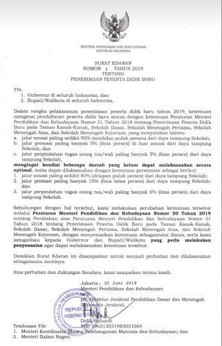 PPDB Berbasis Zonasi, Kemendikbud Keluarkan Edaran Permendikbud Nomor 20 Tahun 2019