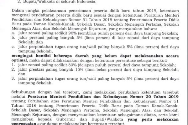 Image result for rat Edaran diterbitkan dengan adanya Permendikbud Nomor 20 Tahun 2019 sebagai perubahan atas Permendikbud Nomor 51 Tahun 2018 tentang Penerimaan Peserta Didik Baru.