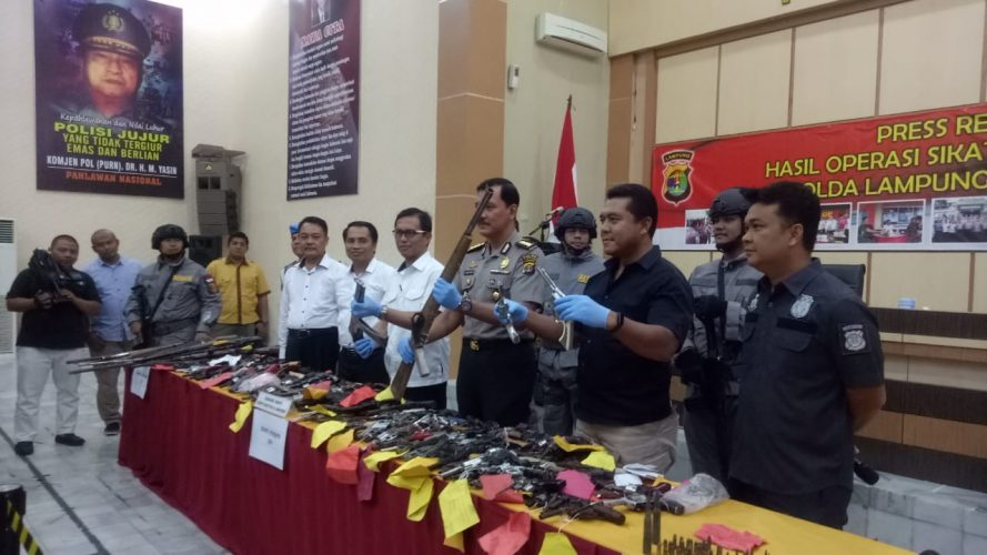 Operasi Sikat Krakatau, Polda Lampung Sita Ratusan Barang Rakitan dan Tangkap 39 TO