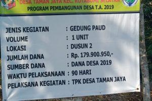 Proyek Gedung PAUD Desa Taman Jaya Diduga Bermasalah